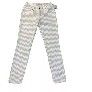 NWT GUESS Skinny Striped White Beige Pants 26